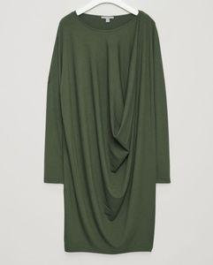 COS dark green draped dress